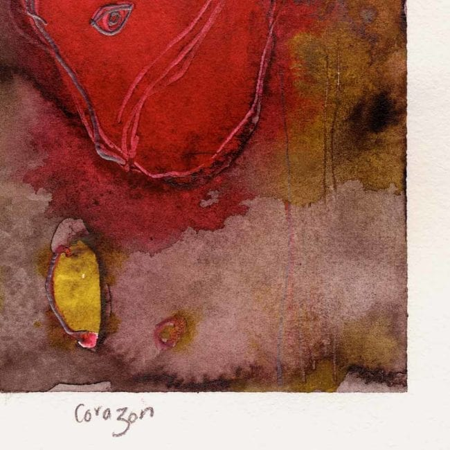 close up of the corazon original 9/11 watercolor painting with a bright red anatomical heart in the center of the painting and a purple, brown, and yellow background with the title inscribed underneath in pencil