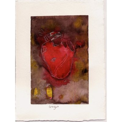 corazon original 9/11 watercolor painting with a bright red anatomical heart in the center of the painting and a purple, brown, and yellow background with the title inscribed underneath in pencil