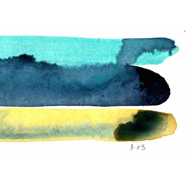 close up of the harbour island mud flats watercolor color study with light blue, dark blue, and cool yellow horiztonal stripes and the colors bleeding into one another with the title of the piece inscribed underneath