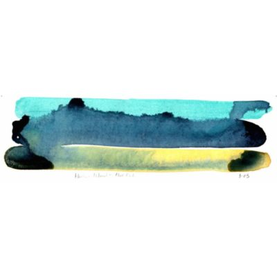harbour island mud flats watercolor color study with light blue, dark blue, and cool yellow horiztonal stripes and the colors bleeding into one another with the title of the piece inscribed underneath