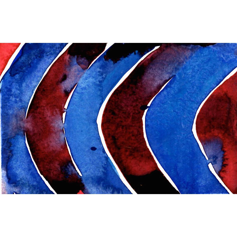 moroccan bowl study original watercolor painting with deep blue and dark red curved vertical stripes with the colors bleeding into one another