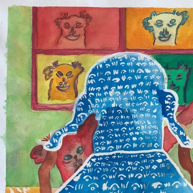 close up of the sulky sadie creeps about original dog watercolor painting with a red dog hiding behind a blue and white patterned chair with a yellow and white carpet and pop art portraits of dogs on the wall behind her