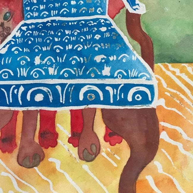 close up of the sulky sadie creeps about original dog watercolor painting with a red dog hiding behind a blue and white patterned chair with a yellow and white carpet