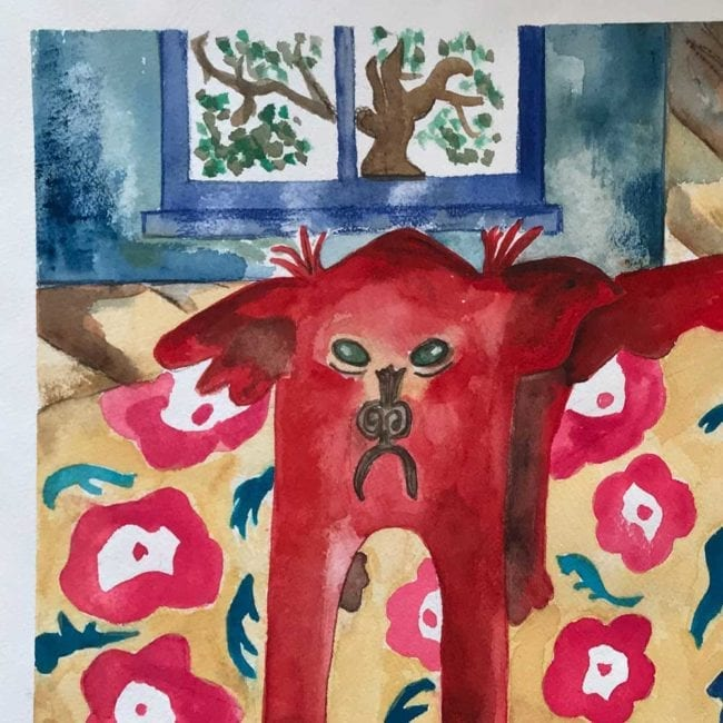 close up of the sulky sadie likes to pout original watercolor painting with a red frowning dog, a patterned rug, and a window with a tree done in an abstracted illustrative style
