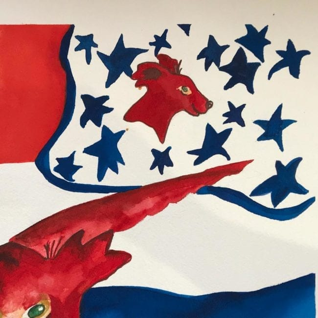 close up of the sulky sadie suspects high treason original dog watercolor with a red dog in the center in front of an abstracted american flag with blue stars and an image of a red dog