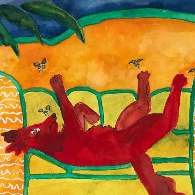 close up of the sulky sadie swats at flies original dog watercolor painting with a red dog lying on a yellow and orange & white patterned couch swatting at flies with a blue background and a green houseplant