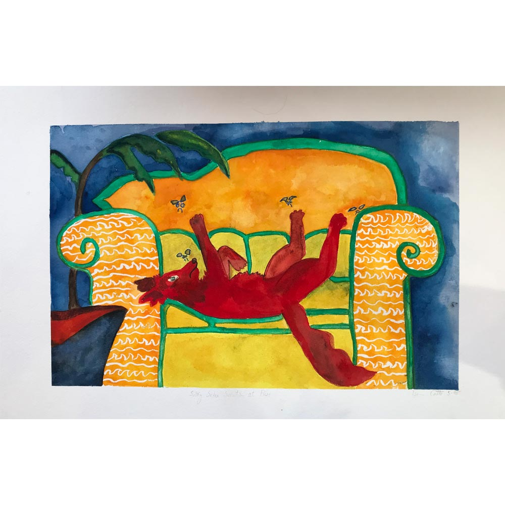 sulky sadie swats at flies original dog watercolor painting with a red dog lying on a yellow and orange & white patterned couch swatting at flies with a blue background and a green houseplant