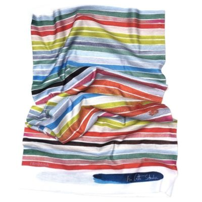 Neck gaiter with colorful horizontal striped pattern, laying flat on a white background
