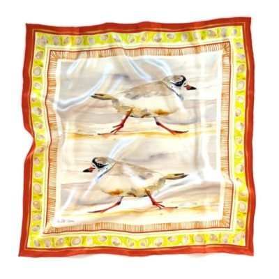 two piper plover birds as watercolor painting on a silk scarf with a bold orange and chartreuse border where the border is watercolor abstracted plover eggs