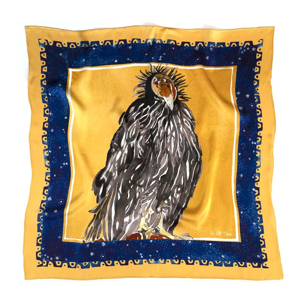Vibrant gold and navy blue bordered silk scarf with watercolor painting of California Condor in the center of the scarf