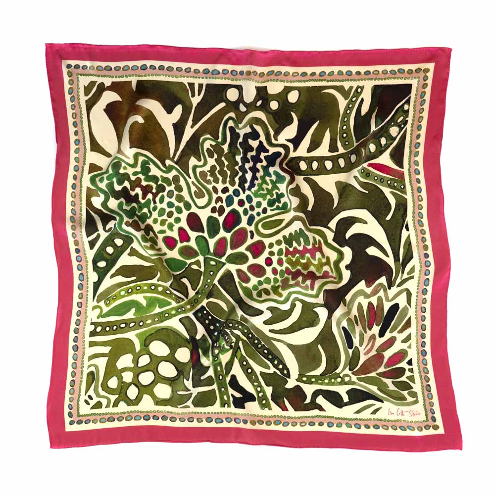 watercolor painting of a lady's mantle plant printed on a silk scarf with a vibrant pink border
