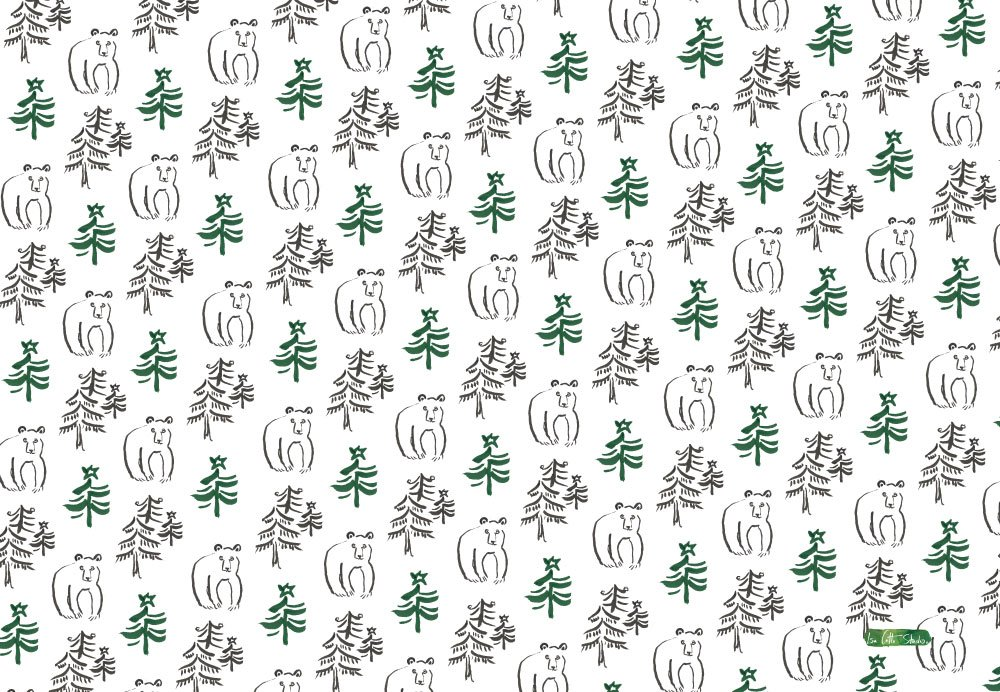 white background wrapping paper sheet with evergreen tree and star on top and ink sketch black bear