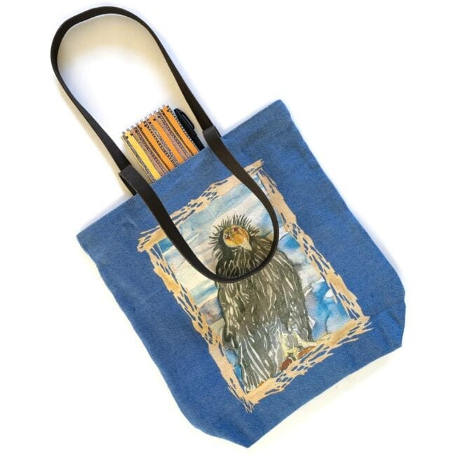california condor tote bag and notebook with a pen