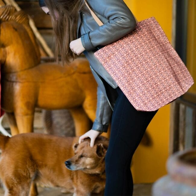 girl walking out the door petting a dog with a muted pink cloverleaf patterned bag