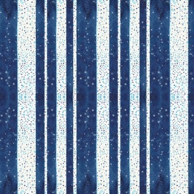 Flat lay sheet of wrapping paper with varied width navy blue and white stripes, details include hand illustrated stars in turquoise blue