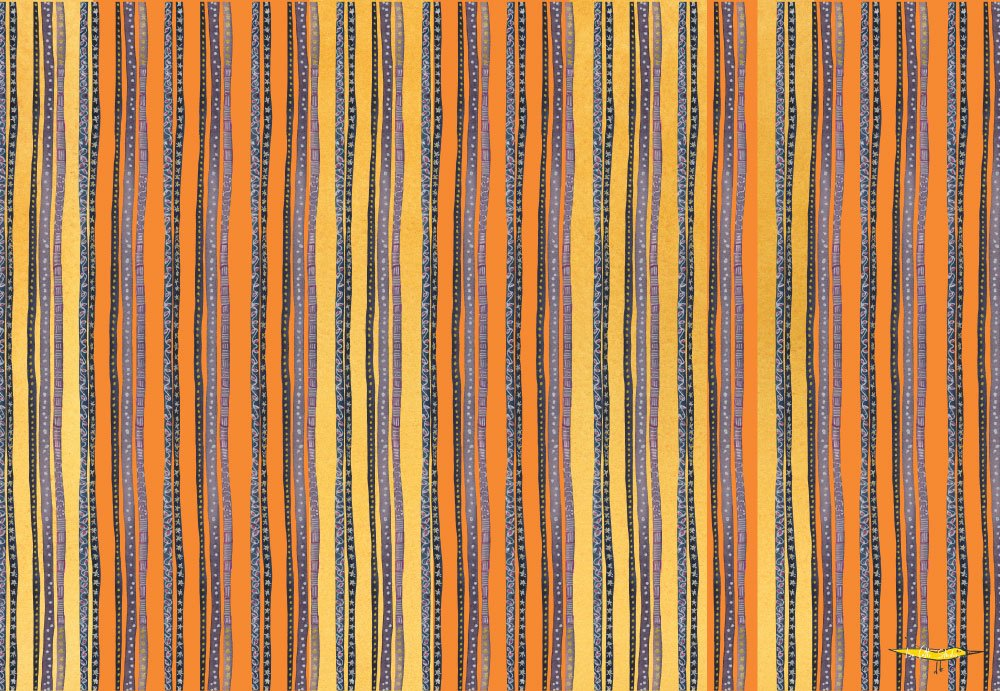 Flat wrapping paper sheet with orange and yellow background and purple wavy stripes overtop. the wavy stripes have the added detail of hand drawn dots and small stars