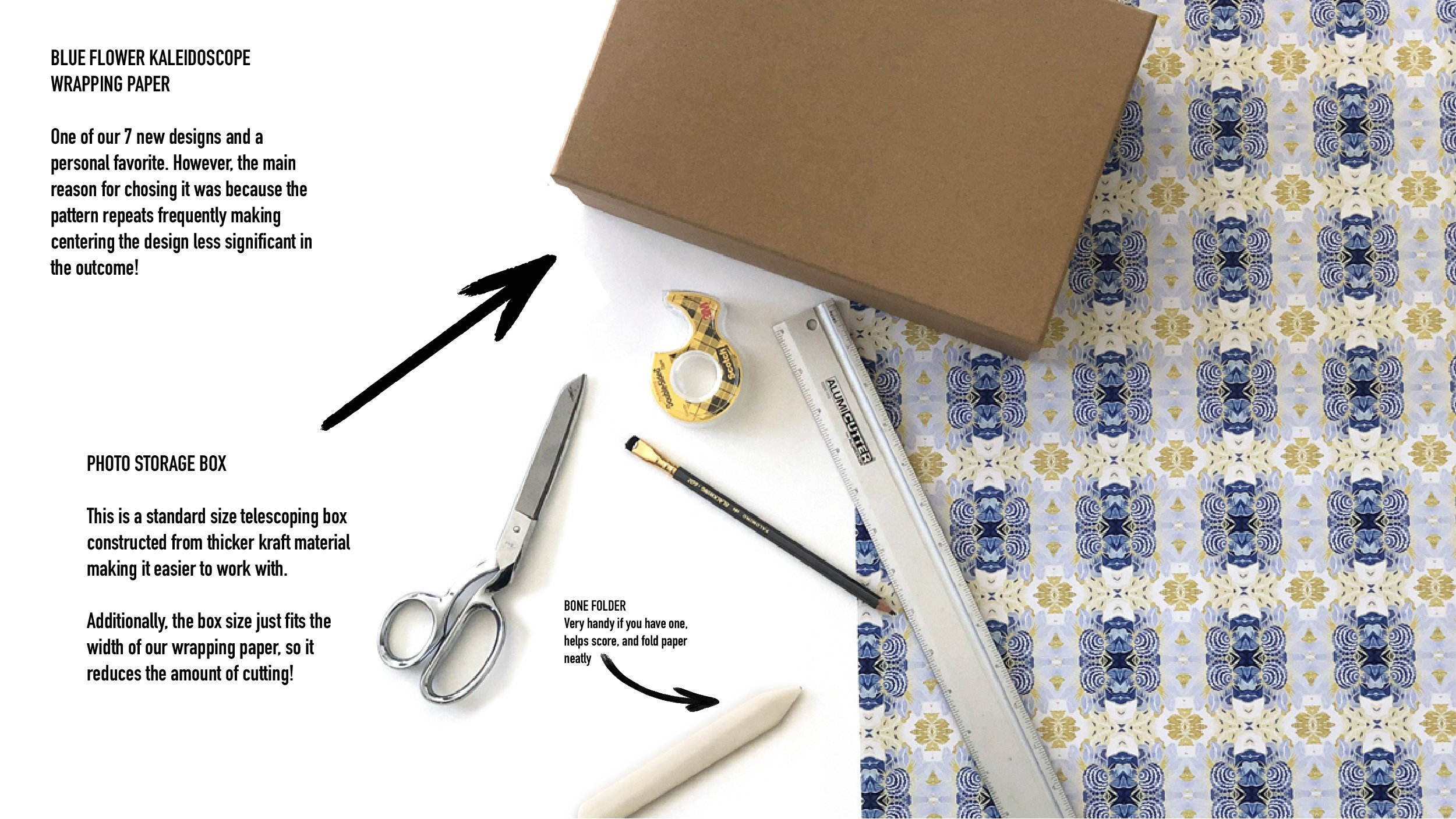 kraft box and wrapping paper laid out in preparation for wrapping - scissors, tape, pencil and ruler are ready