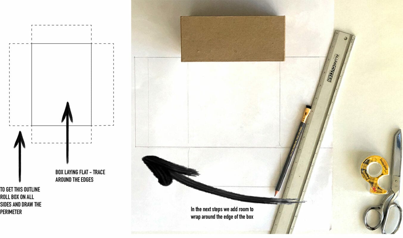 kraft gift box on wrapping paper on the reverse side. markings around the box show how to cut the wrapping paper to wrap around all sides. additional elements include a ruler, pencil and diagram showing how to mark cut lines