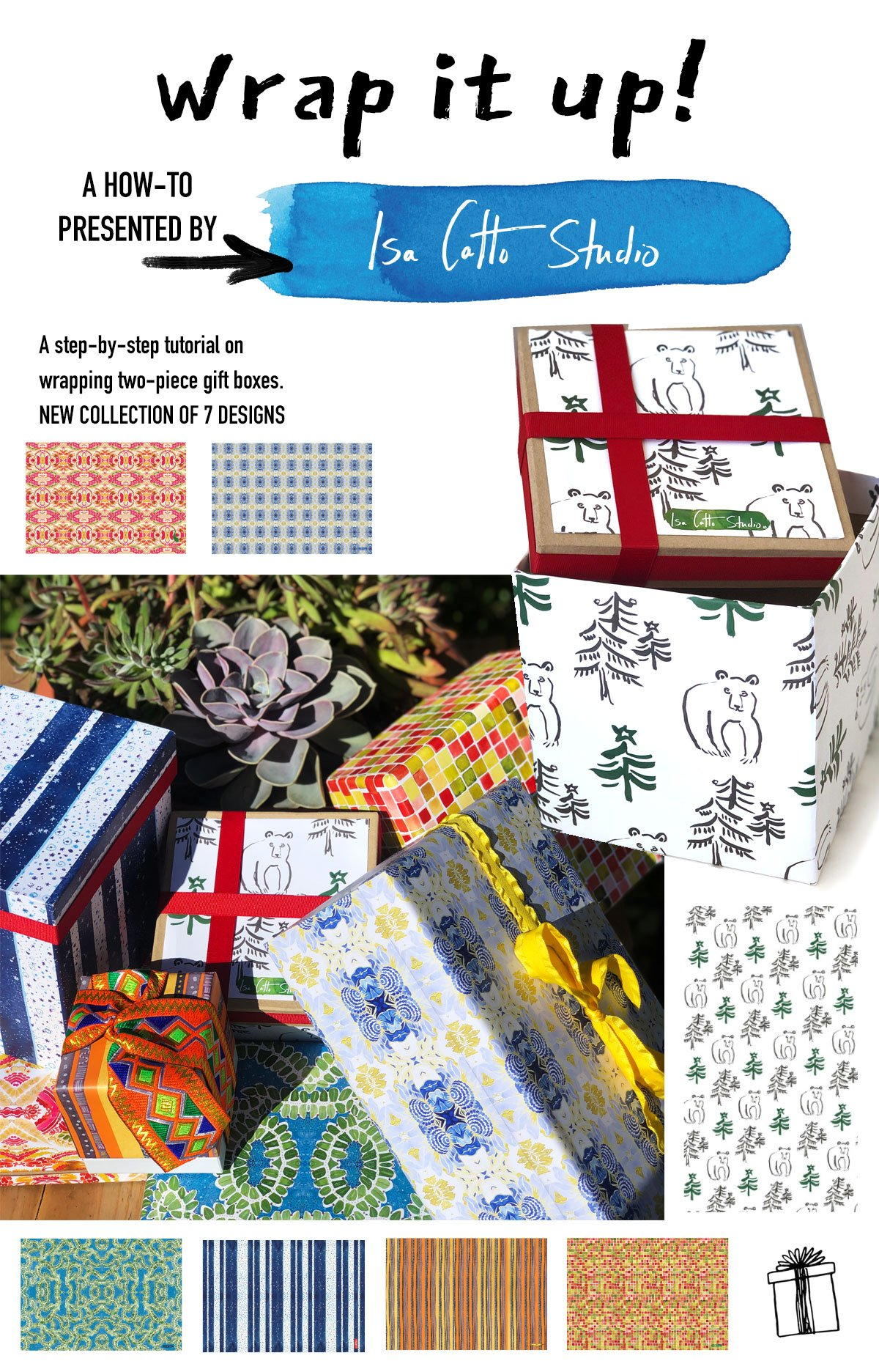 Pinterest ready board with wrapped packages and small images of 7 new wrapping paper designs