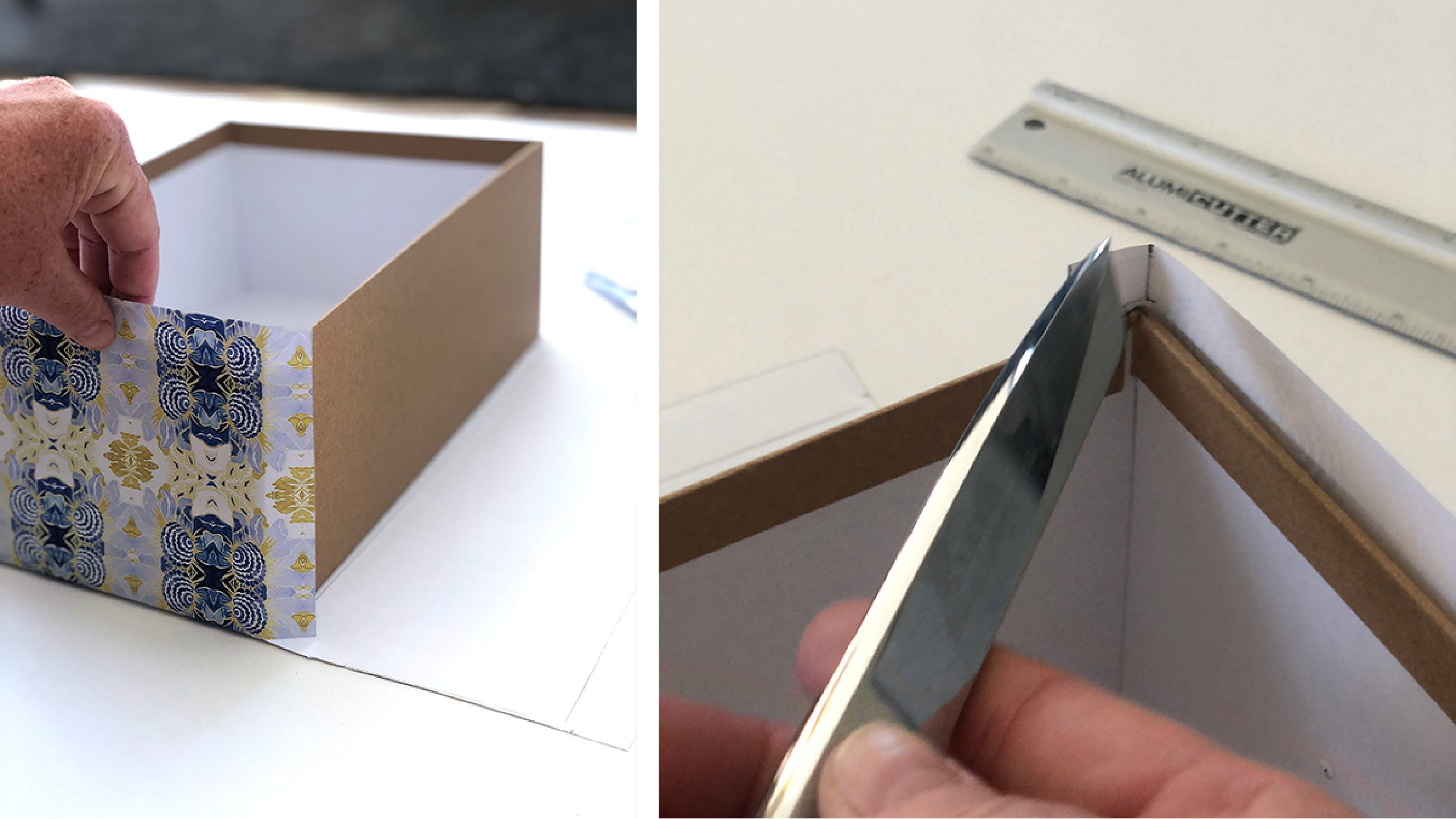 tutorial image on wrapping a telescoping gift box showing how to wrap around the edge of the box on two sides