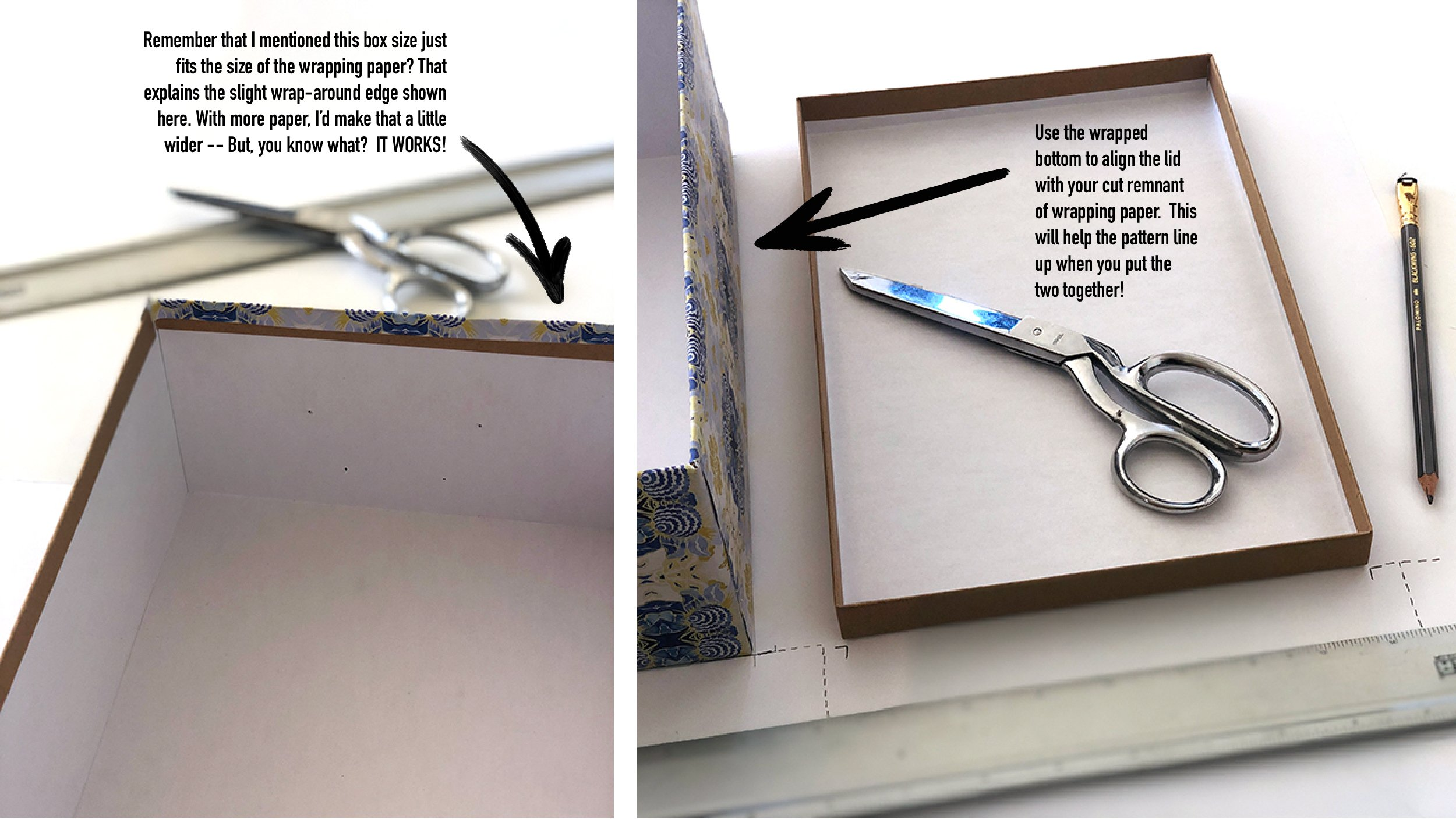 tutorial image showing how to layout a box on wrapping paper to make a two piece wrapped box package