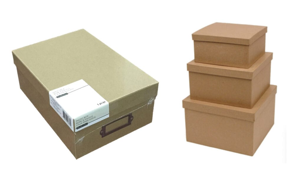 kraft photo storage box and stack of three square kraft boxes with lids
