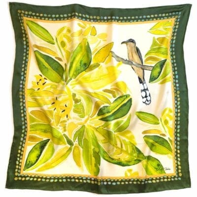 mangrove cuckoo scarf with green and yellow flowers
