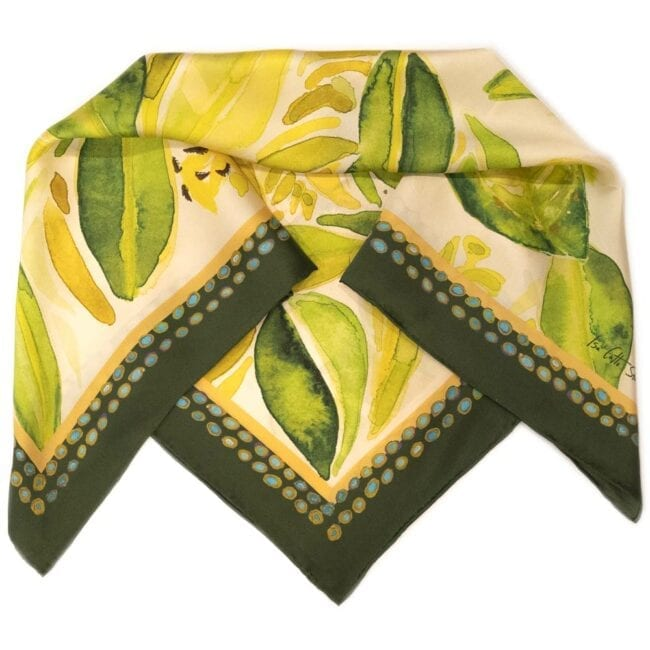 mangrove cuckoo scarf with green and yellow flowers showing detail of border