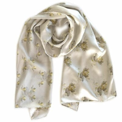 a neutral gray silk scarf with a hummingbird pattern