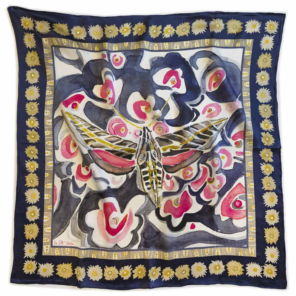 purple pink and gold scarf with a sphinx moth design