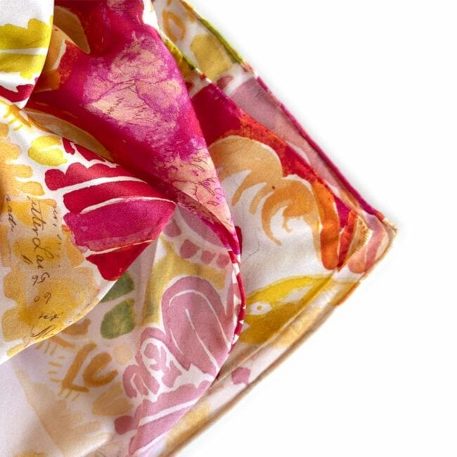 detail colorful autumnal floral design scarf