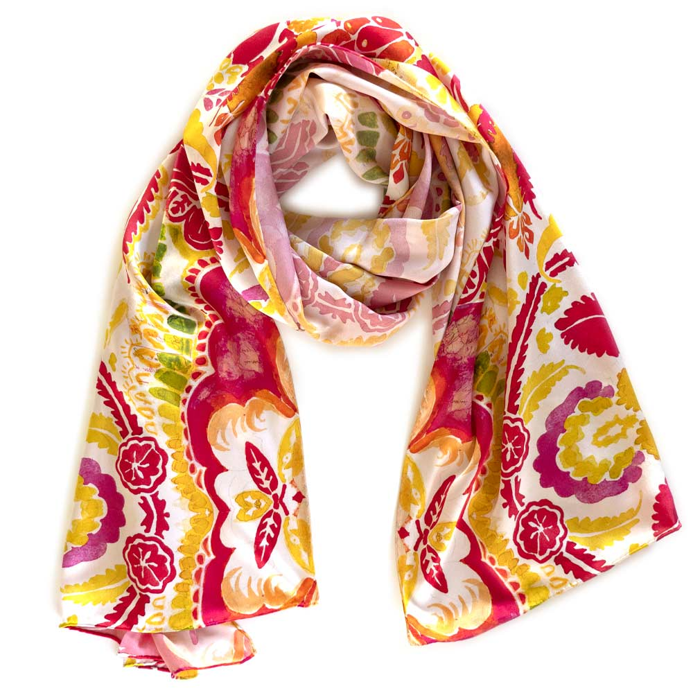 colorful autumnal floral design scarf