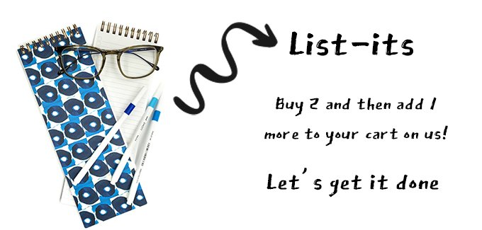 graphic with a skinny notebook that has blue circles, a promotion to buy 2 skinny notebooks and get one free
