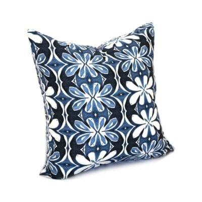 blue and white botanical throw pillow