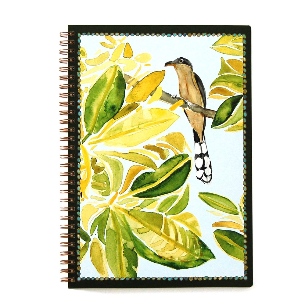 wire bound notebook cover with mangrove leaves and cuckoo sitting on a branch