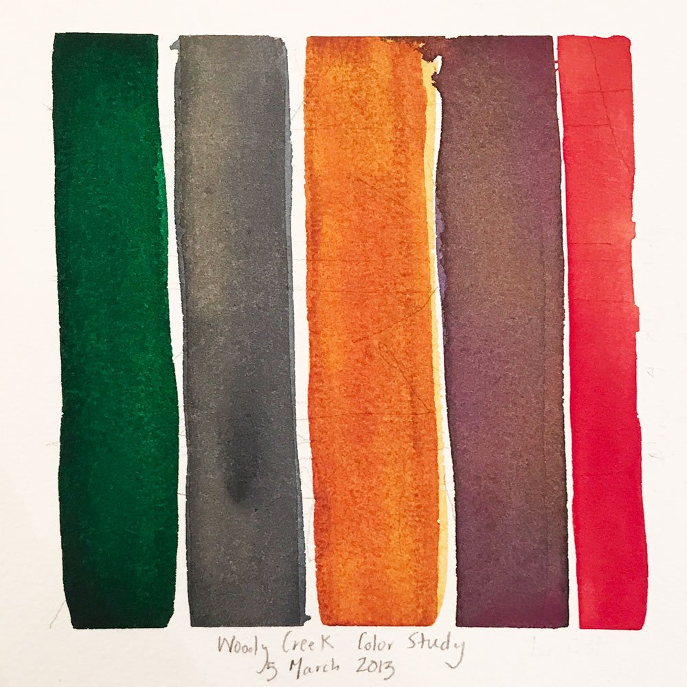 green, gray, orange, burgundy, and red vertical watercolor stripes with the title woody creek color study 5 march 2013