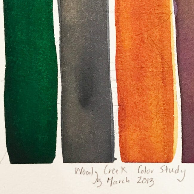 green, gray, orange, and burgundy vertical watercolor stripes with title that reads woody creek color study 5 march 2013