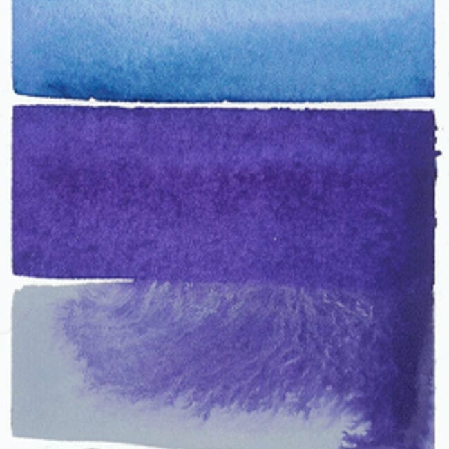 close-up of a painting showing blue and purple stripes