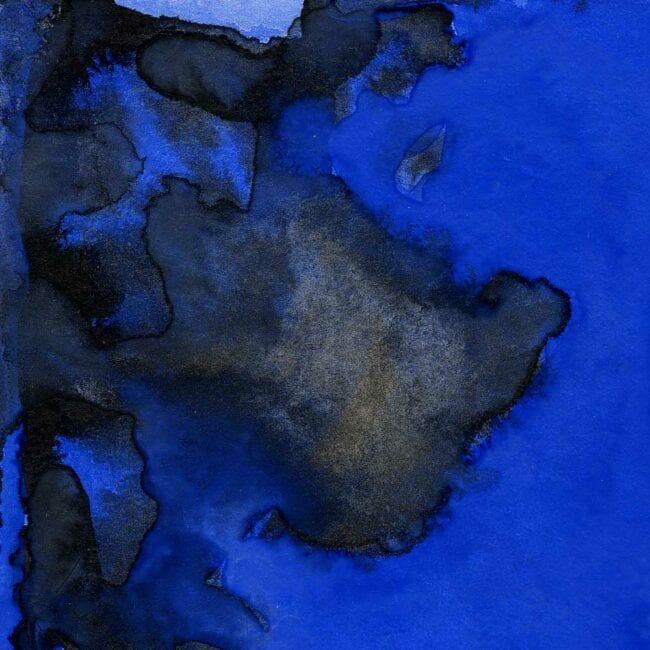 blue and black watercolor of smoke plumes and building remnants smoke plume detail