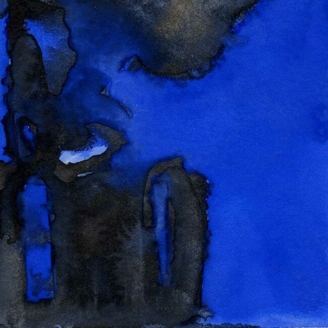 blue and black watercolor of smoke plumes and building remnants detail