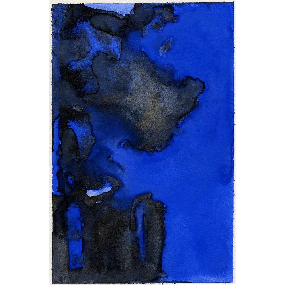 blue and black watercolor of smoke plumes and building remnants