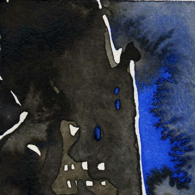 blue and black watercolor of building on fire smoke detail