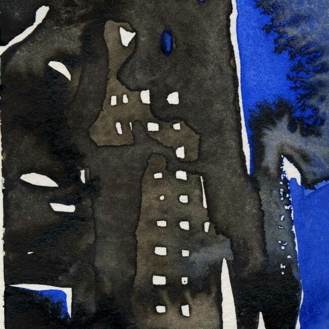 blue and black watercolor of building on fire detail