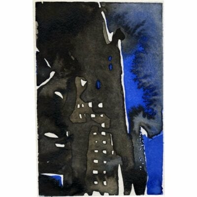 blue and black watercolor of building on fire