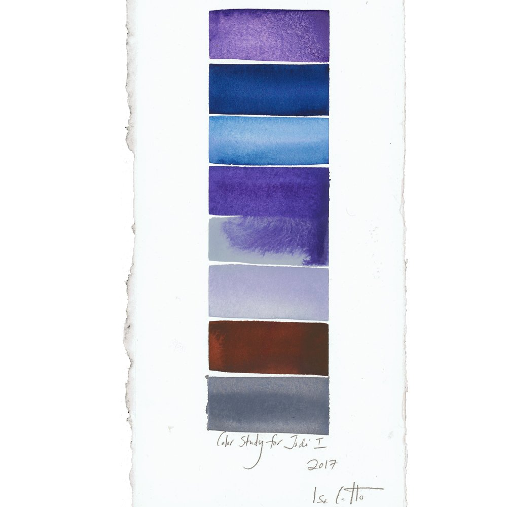 purple, blue, maroon, and gray watercolor stripes with title color study for jodi I