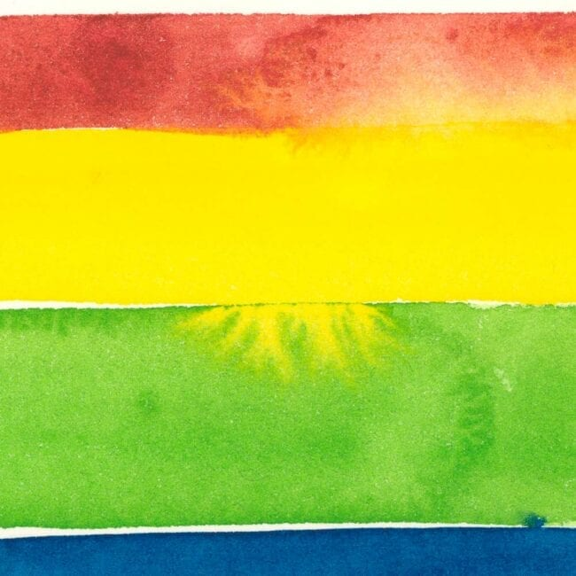 red, yellow, green, and blue watercolor stripes