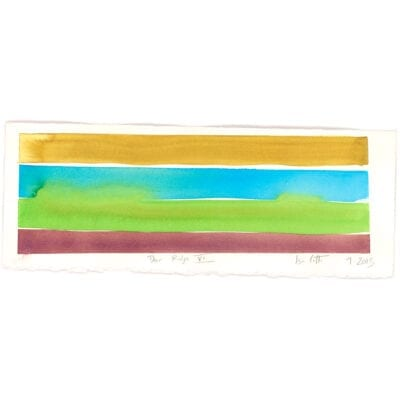 gold, blue, green, and maroon watercolor stripes with title deer ridge vi