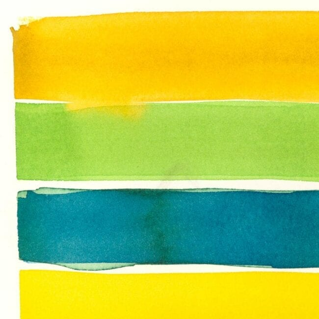 Up close of a yellow, green, and blue striped painting