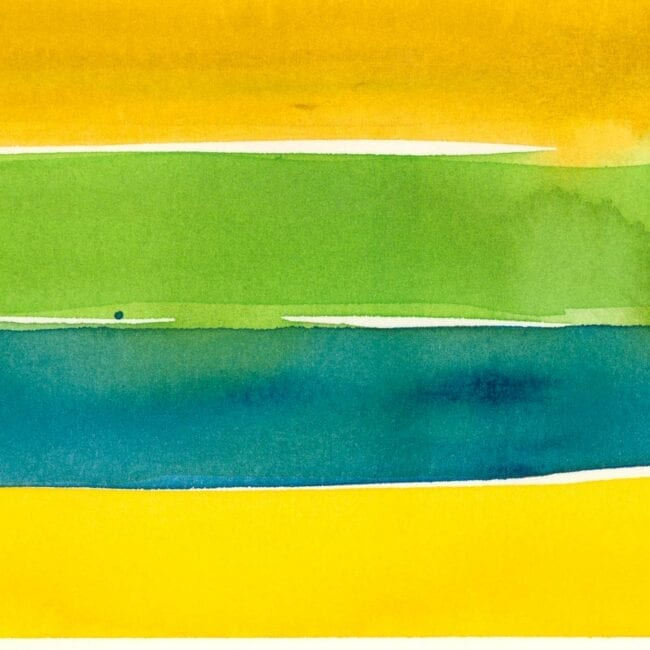 Up-close of a striped painting showing yellow, blue, and green stripes