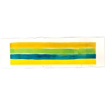 Striped yellow, blue and green painting called Deer Ridge V